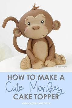 Safari Theme Birthday, Girl Birthday Themes, Fondant Monkey, Monkey Cakes, Youtube Cake Decorating, Fondant Animals Tutorial, Monkey Birthday Cakes, Safari Baby Shower Cake, Safari Cakes