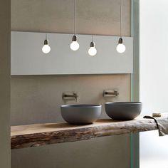 Houten blad met waskom Shui van Cielo via Luca Sanitair #badkamer #design