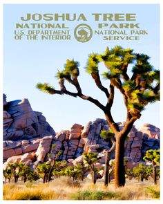 This Joshua Tree National Park print is a unique tribute to the WPA posters that were created in the 1930's and 1940's. The WPA posters were