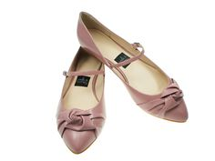 dusty rose leather with knots and single straps pointy flat. From Milk and Honey Shoes. You can even design your own shoes!