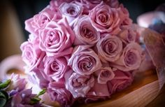 Lilac and Dusky Pink Rose Wedding Bouquet by Serendipity, Leeds