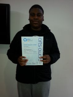 MAYP - Tobi receives his Arts Awards Certificate - Well Done!!