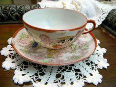 Hand Painted Geisha Japanese Tea Cup Teacup and Saucer