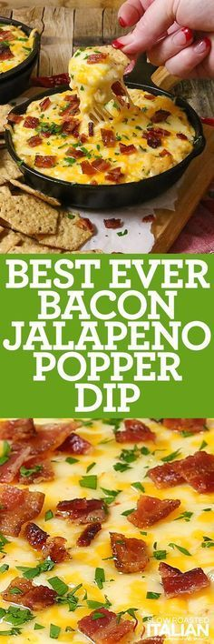 Best Ever Bacon Jalapeno Popper Dip is a simple recipe for an unforgettable appetizer. It is rich, creamy and fully loaded with 3 types of cheese, copious amounts of bacon and a craveable crunch that will have you coming back for more. Oh and it happens to be gluten-free. That is a win at any party.