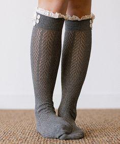 Dark Gray Lace-Trim Knee-High Socks
