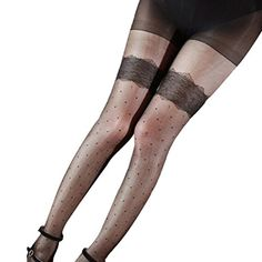 HP95TM Women Girls Sexy Pantyhose Thigh High Elastic Stocking Black * More info could be found at the image url.