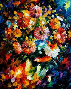 Magic Bouquet — PALETTE KNIFE Oil Painting On Canvas By Leonid Afremov