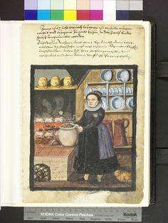 1603 cook in her kitchen with birds on spits, cookpot with meat stew, plates, long handled pots, large ewers  Die Hausbücher der Nürnberger Zwölfbrüderstiftungen