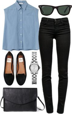 sleeveless denim top and black skinny jeans paired with flats & Zara bag