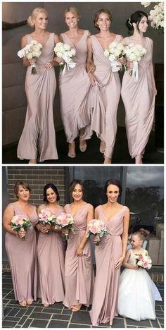 84bdb5a207984 Chiffon Straps Dusty Pink Long Cheap Bridesmaid Dresses Online