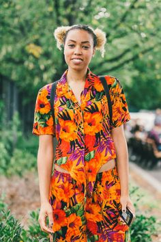 Street style from Afropunk 2014. -- I remember my mom and I wearing these type of short sets when I was young! I'd love to make one for old time's sake.. and they were mad comfy too!