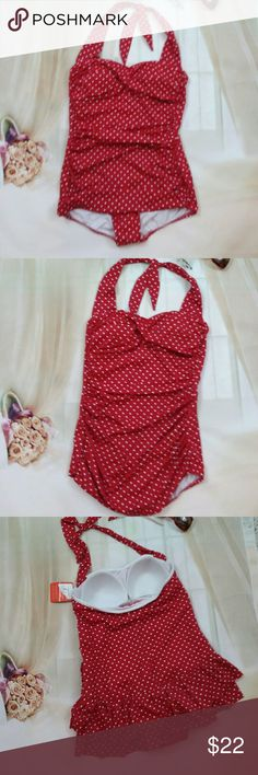 New Catalina Red Polka Dot 1X Swimsuit This is a new suddenly slim tummy control Catalina red and white polka dot swimsuit. It is a size 1X or the tag says 16w it is new with tags. It is sold without flaws or stains Catalina Swim One Pieces