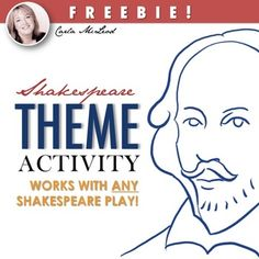 Shakespeare Theme Activity: Works with ANY Shakespeare Play by Carla McLeod High School Classroom, Homeschool High School, Text Feature Anchor Chart, Nonfiction Text Features, 6th Grade Ela, Too Cool For School, School Stuff, Curriculum Mapping, British Literature