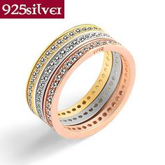 14 New high quality 18k gold jewelry 925 sterling silver ring three in one ring CZ crystal ring J002 ** You can get additional details at the image link.