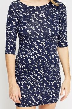 Navy Bow Print Dress