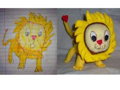 Katie's Lion: plush toy made from child's drawing.