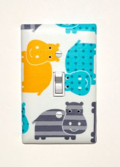 Hippo Light Switch Plate Cover / Baby Boy Safari by SSKDesigns, $16.00