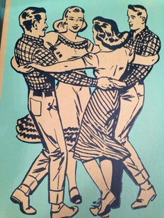 Pair of SQUARE DANCE prints 2 different Hand by PioneerHouse