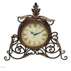 Athena Metal Scroll Table/Desk Clock