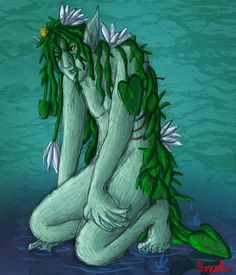 Näkki- Finnish myth: a water spirit that takes the form of a woman with three breasts or alternatively into a silvery fish, horse or a hound. It can also appear as beautiful from the front, but hairy and ugly from the back. It grabs young children who lean over the docks too far.