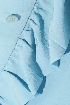 Prada - Pussy-bow Ruffled Silk Crepe De Chine Blouse - Light blue - IT36