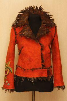 Wild. Red. Loving. / Felted Clothing / Jacket by LybaV on Etsy, $600.00