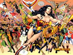 Always loved this one ✰ Wonder Woman leading DC's superheroines into battle. Art by Phil Jimenez ✰ from Wonder Woman 2001 Old Comic Books, Comic Book Pages, Comic Book Heroes, Old Comics, Dc Comics Art, Marvel Dc Comics, Dc Comics Characters, Female Characters, Justice League Pictures