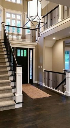 Home Staircase Ideas, Staircase Decorating Ideas This is an amazing layout. I love that the second floor is open to the first floor, it makes the house seem huge! I love the open concept. Dream Home Design, My Dream Home, Home Interior Design, House Design, Dream Homes, Dream Life, Interior Architecture, Open Basement, Basement Stairs