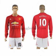 Fodboldtrøjer Premier League Manchester United 2016-17 Rooney 10 Hjemmetrøje Langærmede