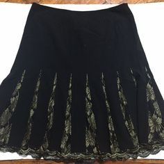 a77ddc6f0 Chelsea And Theodore Skirt Size 16 Womens Black Gold Lace Pleats A Line  #fashion #