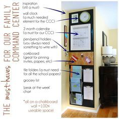 """Family Central Command Center - Design it to fit your family needs!  Created by @Jenna_Burger, www.sasinteriors.net.  Featured in Better Homes and Gardens """"I Did It"""""""