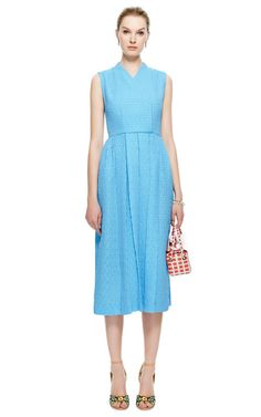 M'O Exclusive: Jully Pleated Matelassé Midi Dress by Emilia Wickstead - Moda Operandi
