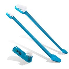 Dog Dental Care - Dog Toothbrush Set By Boshel  2 Dualheaded Brushes For Better Dog Dental Care And Dog Breath Freshener  BONUS Finger Toothbrush Included  Veterinarian Recommended  Use With Dog Toothpaste ** See this great product. (This is an Amazon affiliate link)
