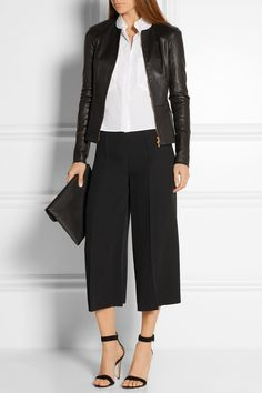 Valentino - Black cropped wide leg trousers.