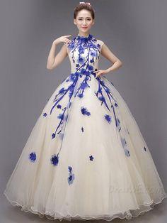 Classy Applique High Neck Zipper-up Sleeveless Ball Gown Dress