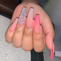 pink and silver summer acrylic nails coffin Acrylic Nails Natural, Pink Acrylic Nails, Acrylic Nails For Summer Coffin, Ballerina Acrylic Nails, Coffin Acrylics, Long Nail Designs, Acrylic Nail Designs, Polygel Nails, Long Nails