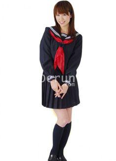 Schwarz mit langen Ärmeln Rüschen Baumwolle Lolita Suit