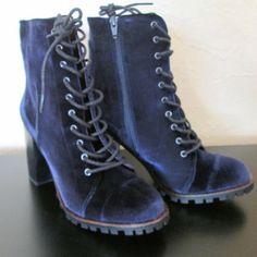 Brand new blue velvet lace-up boots from Modcloth Super cute chunky-heeled lace-up ankle boots from Modcloth. Brand is Report Signature. Soft velvet in a gorgeous blue hue. Brand new, never worn. Size 38 Eur/ US 8. Report Signature Shoes Ankle Boots & Booties