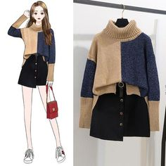 Winter high collar color matching sweater wool skirt set : Sweater size(cm) Shoulder Bust Sleeve Front Back one size 56 98 56 52 57 Skirt Size ? waist Skirt length S 64 41 M 68 42 L 72 43 Teen Fashion Outfits, Mode Outfits, Girl Fashion, Casual Outfits, Womens Fashion, Female Fashion, Fasion, Runway Fashion, Fall Outfits
