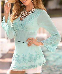 Stylish V-Neck Flare Sleeve Embroidered Solid Color Women's Blouse
