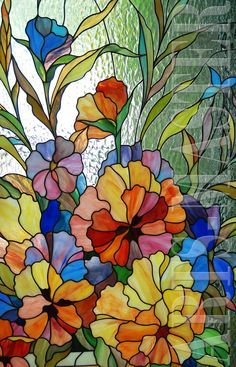 stained glass violets and pansies