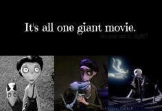 1. Frankenweenie (2012) 2. Corpse Bride (2005 )3. The Nightmare Before Christmas (1993)   MIND BLOWN