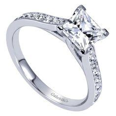 14K White Gold 1.82cttw Classic Bead Set Princess Cut Diamond Engagement Ring