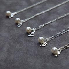 Bridesmaid Necklace Set of 5 Five, Custom Initial Jewelry, Personalized Bridal Party Gift, Bridesmaids Pearl Necklace by SprigJewelry on Etsy https://www.etsy.com/listing/155697558/bridesmaid-necklace-set-of-5-five-custom