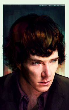 Sherlock fanart by terlilac. I like this picture because he just looks so sad... (not that I like it when people are sad, but it just looks like how I would imagine Sherlock)