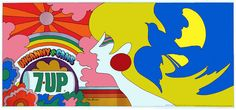 «UnCola billboard poster signed by John Alcorn. This is the only image he did for the 7Up Co. Bear in mind that this whole initial series of UnCola images were very likely seen on highway billboards as hundreds of thousands of youth drove to Woodstock in August of 1969».
