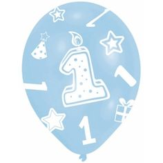 Blauw gekleurde ballonnen 1 jaar. Met ster, verjaardagkaars, feesthoed en cadeau motiefjes. Geschikt voor de verjaardag van het eerste levensjaar van uw kind of te combineren met andere ballonnen. Inhoud: 6 stuks. Formaat: 27.5 cm.
