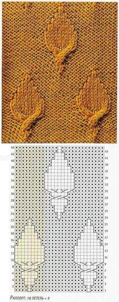 Knit leaves (cables): charts below, text is not in English.