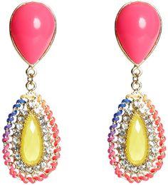 Neon earrings: Pink, yellow & rainbow thread