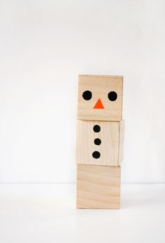 Wooden Wonderland Snowman Blocks Craft | AllFreeKidsCrafts.com